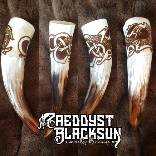 0,4L Drinking horn, burned by hand