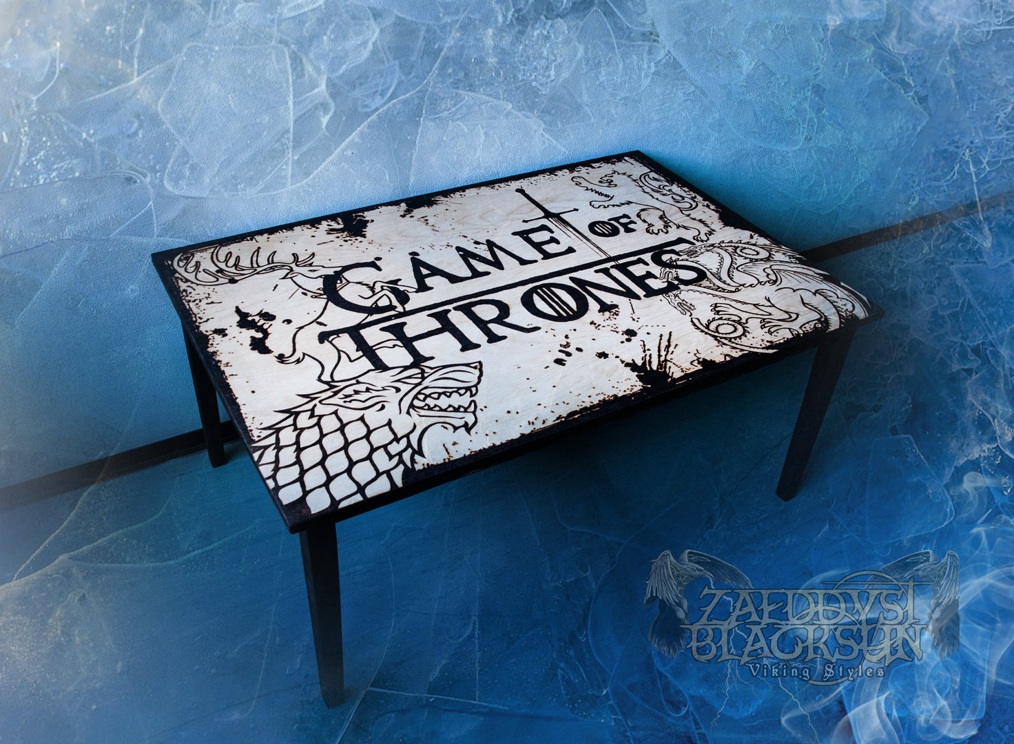wohnzimmertisch game of thrones zaeddyst blacksun trinkh rner m bel kleidung schmuck. Black Bedroom Furniture Sets. Home Design Ideas